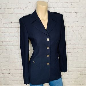 ESCADA Navy Blue Wool Sport Coat Blazer Size US 4